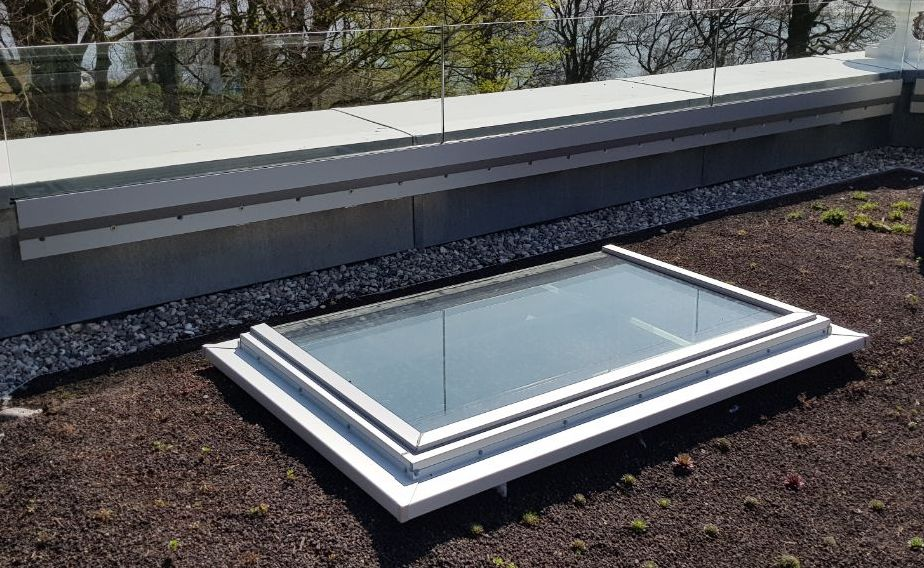 Glass railings and glass in the flat roof